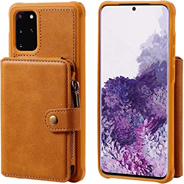 RuiJinHao Samsung Galaxy S10 Flip Case Leather Cover Extra-Shockproof Business Cell Phone Cover Button Zipper Card Slot Anti