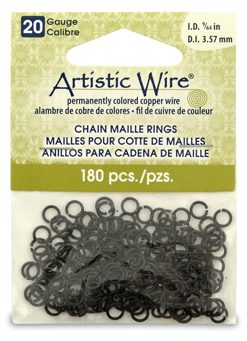 Artistic Wire 20-Gauge Black Chain Maille Rings, 9/64-Inch Diameter, 180-Pieces