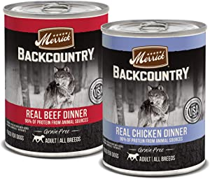 Merrick Backcountry Grain Free Real Beef & Chicken Dinner Wet Dog Food Variety Pack - (12) 12.7 oz. Cans