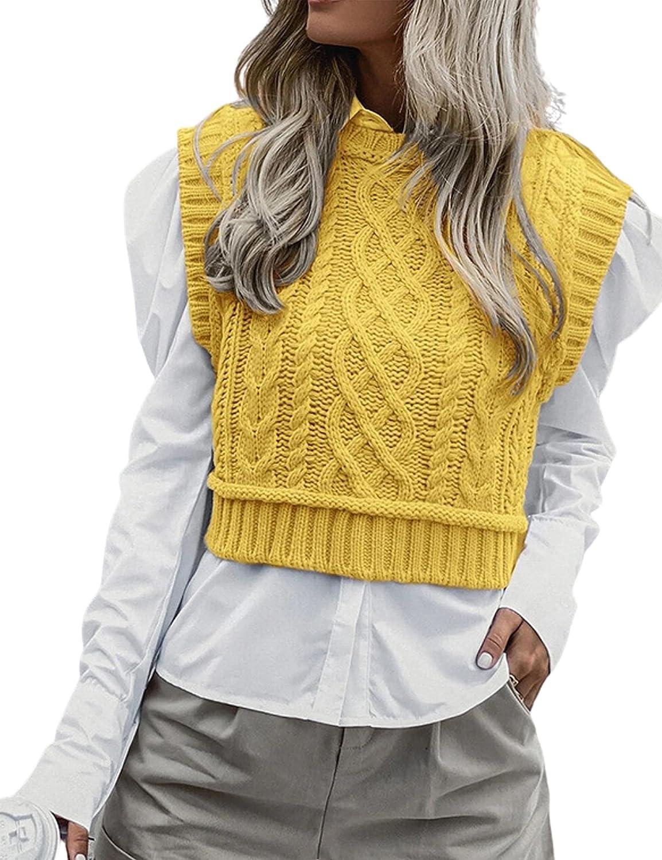 Dqbeng Women's Preppy Cable Knit Sweater Vests Mock Neck Sleeveless Knit Tank Tops