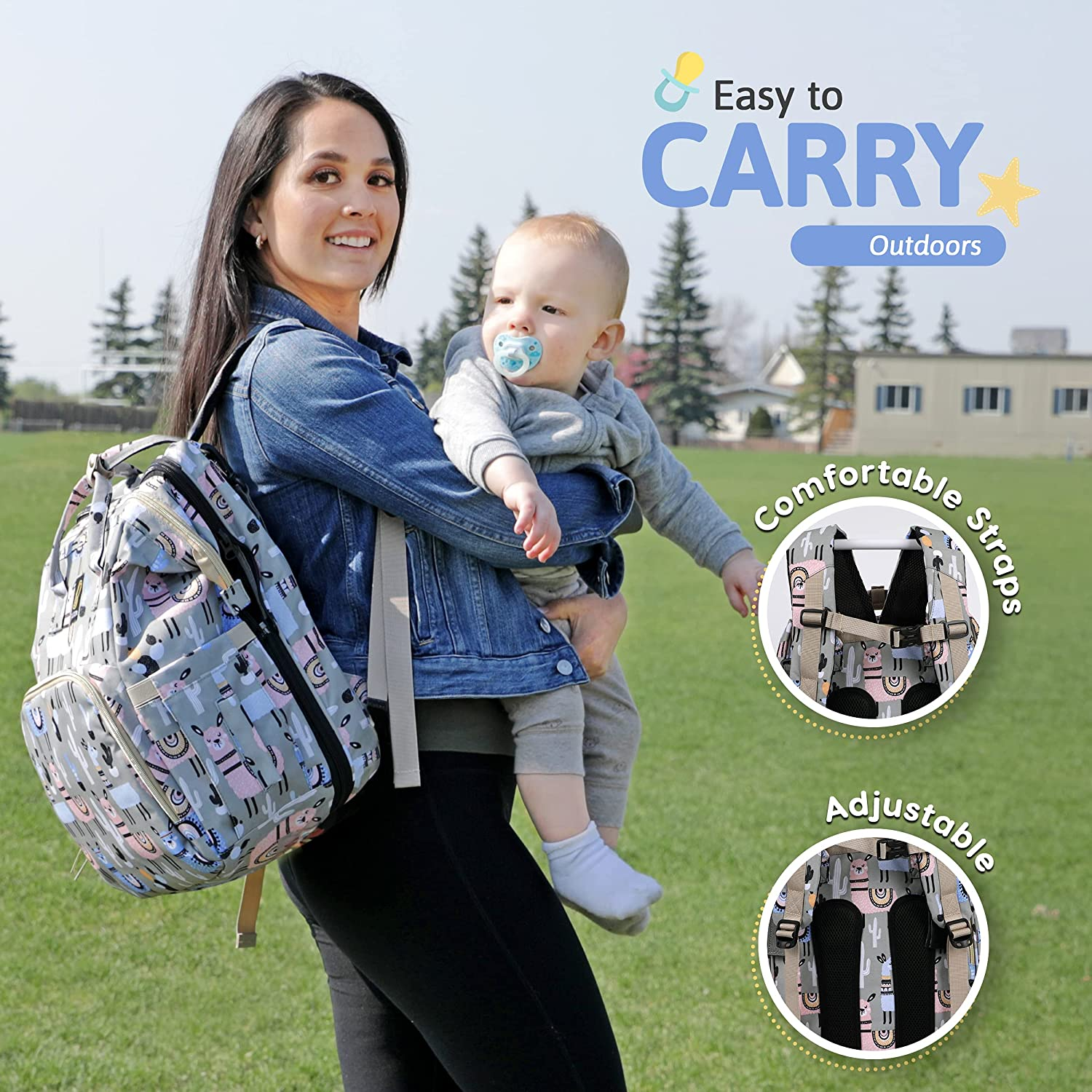 CAUJON Baby Diaper Bag Backpack - 3 in 1 Multifunctional Diaper Bag with Changing Station, Travel Friendly, Large Capacity, Waterproof
