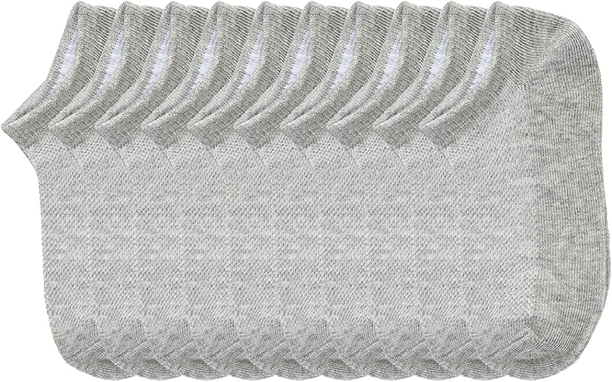 CHUNG Toddler Little Big Boys Girls Cotton Solid Color Ankle Socks Low Cut Half Mesh White Black Grey 10 Pack