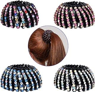 Rhinestone Hair Holder Akamino Ponytail Holder Hair for Women Girls, Expandable Bird Nest Hair Clip Headwear Barrette Styl...