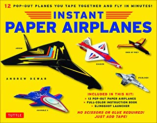 Instant Paper Airplanes Kit: 12 Pop-out Airplanes You Tape Together and Fly in Minutes! [12 precut pop-out airplanes; slingshot launcher, tape & full-color book]