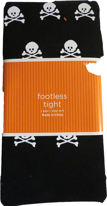 Halloween Black Skull & Cross bones footless tight size S/M 90-130 lbs, 4-10-5.4