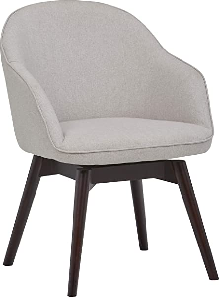 Rivet Vern Contemporary Round Back Dining Chair With Arms 32 Inch Height Felt Grey