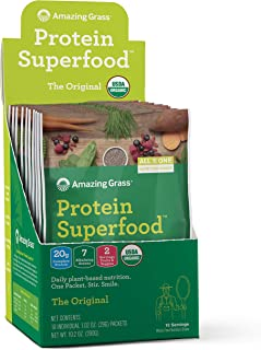 Amazing Grass Protein Superfood: Organic Vegan Protein Powder, Plant Based Meal Replacement Shake with 2 servings of Fruits and Veggies, Unflavored, 10 Single Serve Packets