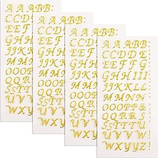 4 Sheets Graduation Cap Decorations Peel and Stick Glitter Alphabet Sticker Letter Stickers for Graduation Cap Supplies (Gold)