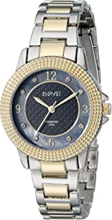 August Steiner Women's Fashion Watch - Textured Black Diamond Dial With Big Number Hour Markers on Two Tone Yellow Gold and Silver Stainless Steel Bracelet - AS8154