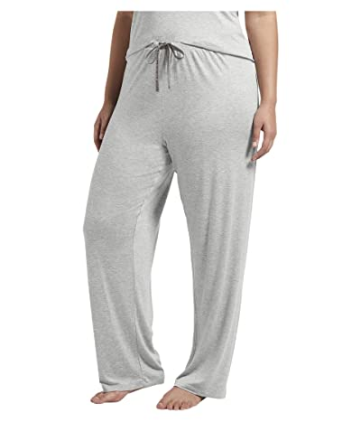 HUE Plus Size Solid Long PJ Pants with Temp Tech (Light Heather Grey) Women