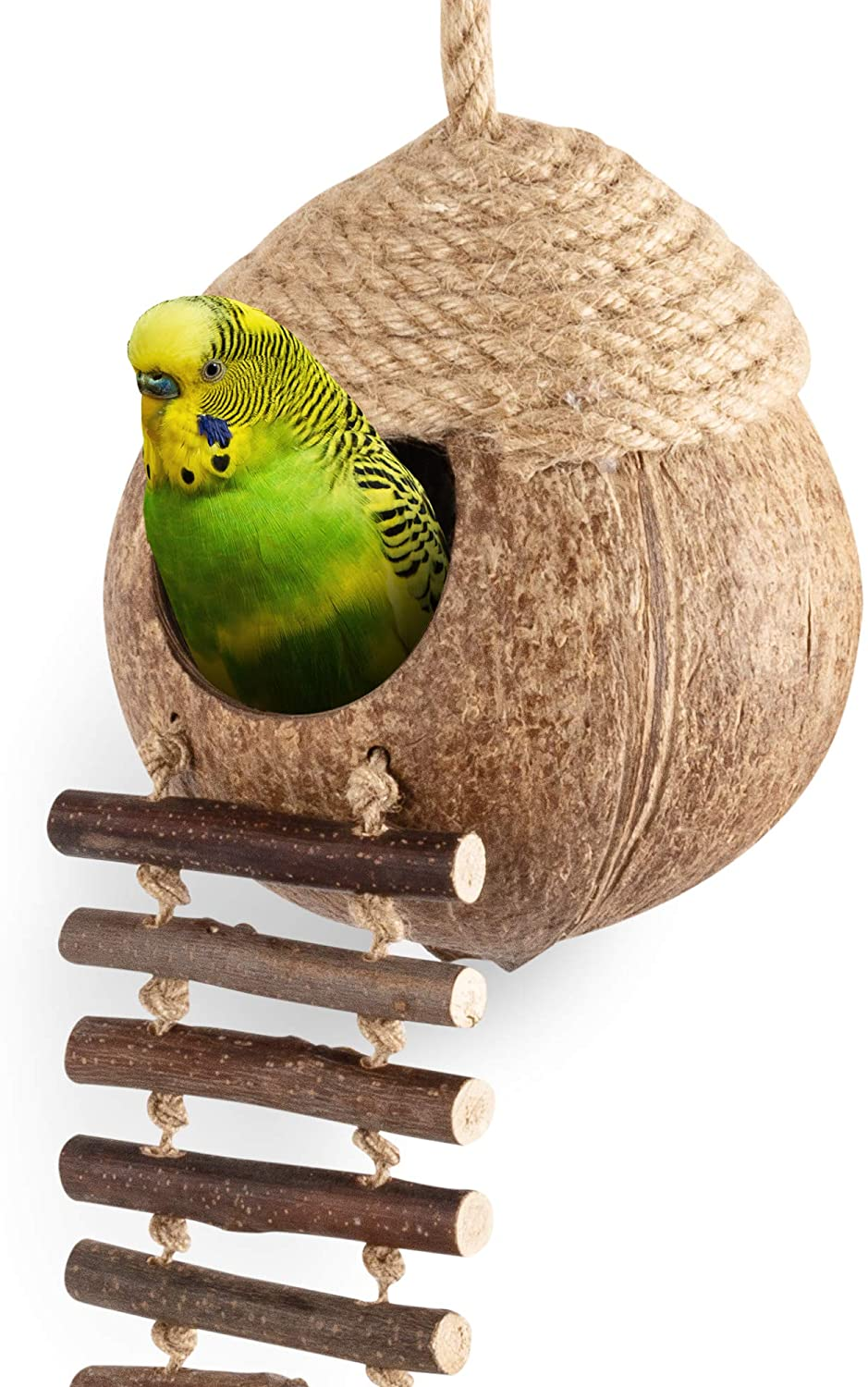 andwe Reservation Coconut Long-awaited Bird Nest Hut with Ladder Parrots for Con Parakeet