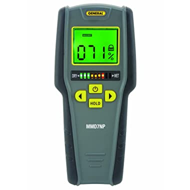 General Tools MMD7NP Pinless, Non-Invasive, Non-Marring, Digital Moisture Meter, Water Leak Detector, Moisture Testerup To ¾  (19mm) Deep, Backlit LCD Screen, Visual/Audible Alarms