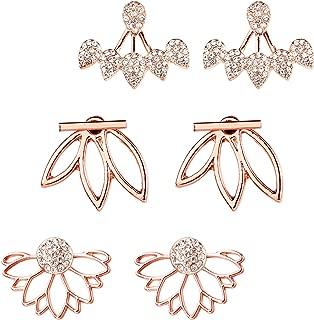 3 Pairs 3 styles Lotus Flower Earrings Simple Ear Stud Earrings for Women (Rose Gold)