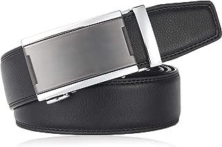 Ratchet Belt for Men, QISHI YUHUA Slide Men's Belt with Genuine Leather 1 3/8,Trim to Fit