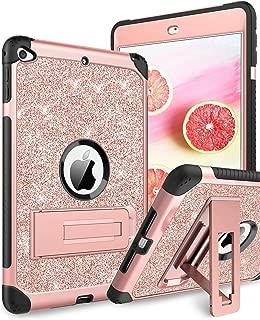 DUEDUE iPad Mini 5 Case 5th Generation 2019 Release, iPad Mini 4 Case, 3 in 1 Glitter Hard PC Shockproof Durable Kickstand Full Body Protective Cover for iPad Mini 5/iPad Mini 4 for Women,Rose Gold
