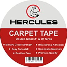 HERCULES Double Sided Carpet Tape, Heavy Duty Grip Anti Slip Design for Rugs, Carpets, Mats, Strongest Hold for Hard Wood Floors, Tile, Concrete, Stair Treads, All Flooring, 30 Yards Long, 2
