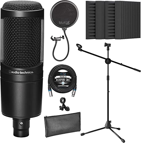 """popular Audio-Technica AT2020 Cardioid Condenser Microphone for Vocals, Podcasting, Livestreaming for Bundle with Blucoil 20-FT Balanced lowest XLR Cable, Pop Filter, Adjustable Mic Stand, and 4x popular 12"""" Acoustic Wedges online"""