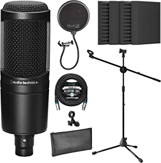 Audio-Technica AT2020 Cardioid Condenser Microphone for Vocals, Podcasting, Livestreaming for Bundle with Blucoil 20-FT Ba...