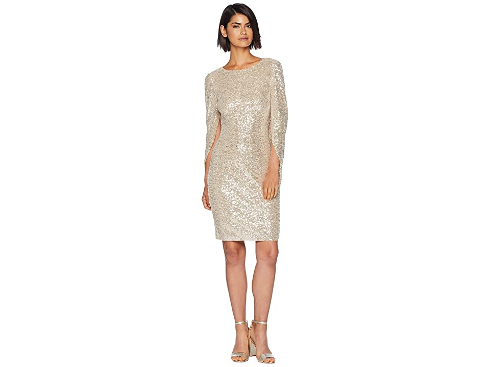 Badgley Mischka Sequins Cowl Sleeve (Silver/Nude/Black) Women