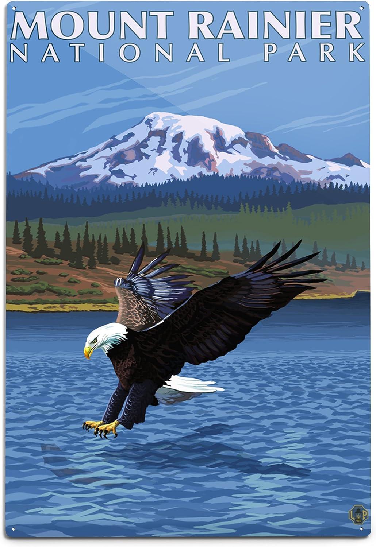 Lantern Press Mount Rainier Washington Bombing Ranking TOP4 free shipping Eagle 12x18 Al Fishing