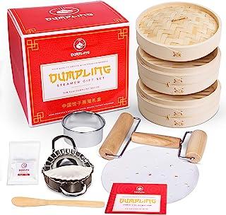 Dumpling Steamer Set DIY Kit with Dumpling Mold! Dumpling Kit w/Bamboo Steamer Basket, Liner, Dumpling Cutter, Agar, Rolle...