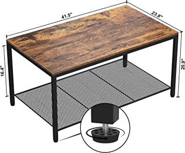 Industrial Coffee Table, Large Modern Coffee Table with Storage Shelf, Wood Living Room Table with Dense Mesh Shelf, Vintage