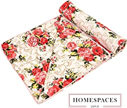 Home Spaces Red Floral Print Micro Cotton Double Bed dohar - Multicolor (Standard Double Bed Size Ac Blanket)
