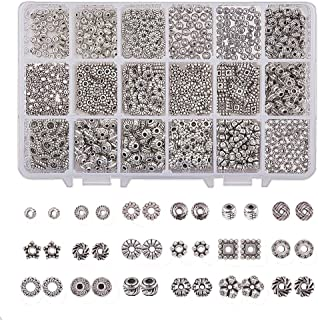BELLARMOR Tibetan Silver Spacer Beads Antique Metal Alloy Jewelry Findings Accessories for Bracelet Necklace Crafts Jewelry Making (18 Style Antique Silver - 900pcs)