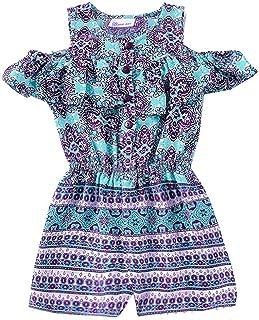 5f9ca16f11a Bonnie Jean Little Girls Purple Art Deco Print Ruffle Cold Shoulder Romper  4-6X