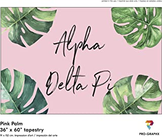 Pro-Graphx Alpha Delta Pi Greek Sorority & Fraternity Flag Officially Licensed, Tapestry, Display Banner, Sign, Letter Pattern Large Decor - 3 feet x 5 feet - Pink Palm