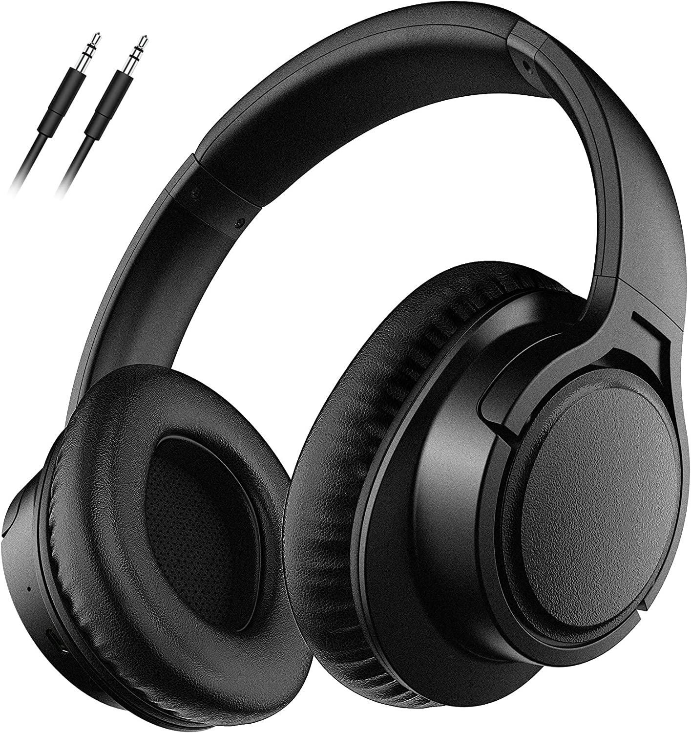 Wireless Headphones Over Ear, Wireless5.0 Wired Headset with Noise Reduction Mic, Hi-fi Stereo Bass, Soft Memory-Protein Earmuffs Headphones for Cellphones/TV/PC