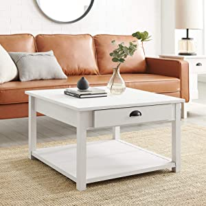 Walker Edison Modern Country Square Coffee Table Living Room Accent Ottoman Storage Shelf 30 Inch, Brushed White