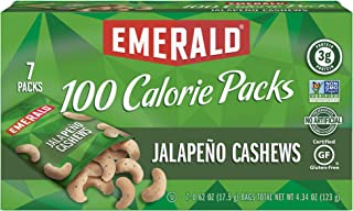 Emerald Nuts Jalapeño Cashews, 100 Calorie Pack, 7 Count (Pack of 12)