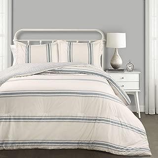 Lush Decor Comforter Farmhouse Stripe 3 Piece Reversible Bedding Set, Full Queen, Blue