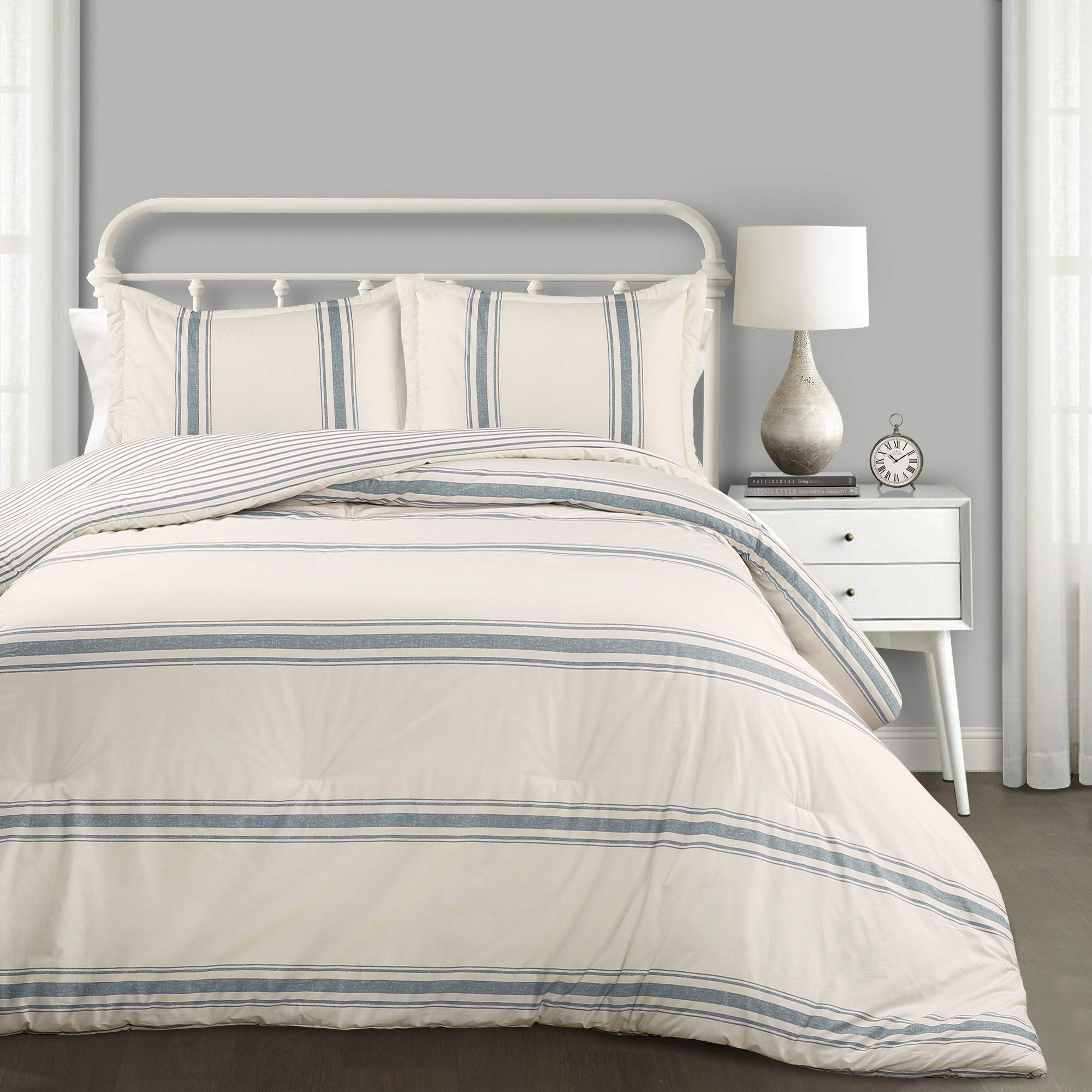 Amazon Com Lush Decor Comforter Farmhouse Stripe 3 Piece Reversible Bedding Set King Blue Home Kitchen