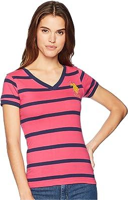 Short Sleeve Striped V-Neck T-Shirt