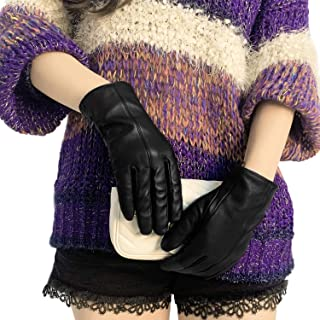 Womens Leather Gloves Driving Touchscreen Gloves Black Warm Winter Italian Sheepskin