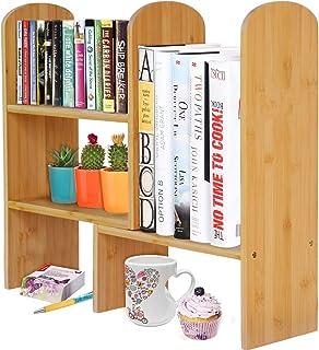 Woodluv Bamboo Desktop Expandable Organizer Stand Bookshelf