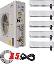 YMGI Five Zone 66000 BTU 9000 9000 12000 12000 24000 Wall Mount Ductless Mini Split Air Conditioner with Heat Pump with 25 Ft Lineset Installation Kits