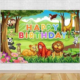 Dschungel Safari Themed Tiere Geburtstag Party Banner Hintergrund Fotografie Cartoon Wald Baby Dusche Dekoration Kuchen Smash Candy Tisch Booth Studio Requisiten 183 x 122 cm