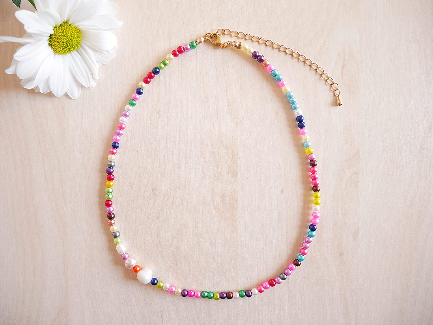 Free Shipping Cheap Bargain Gift Rainbow OFFer beaded necklace - light-weight summer colorful