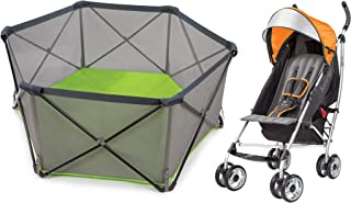 Summer Infant Pop n Play Portable Playard with 3D Lite Stroller, Orange