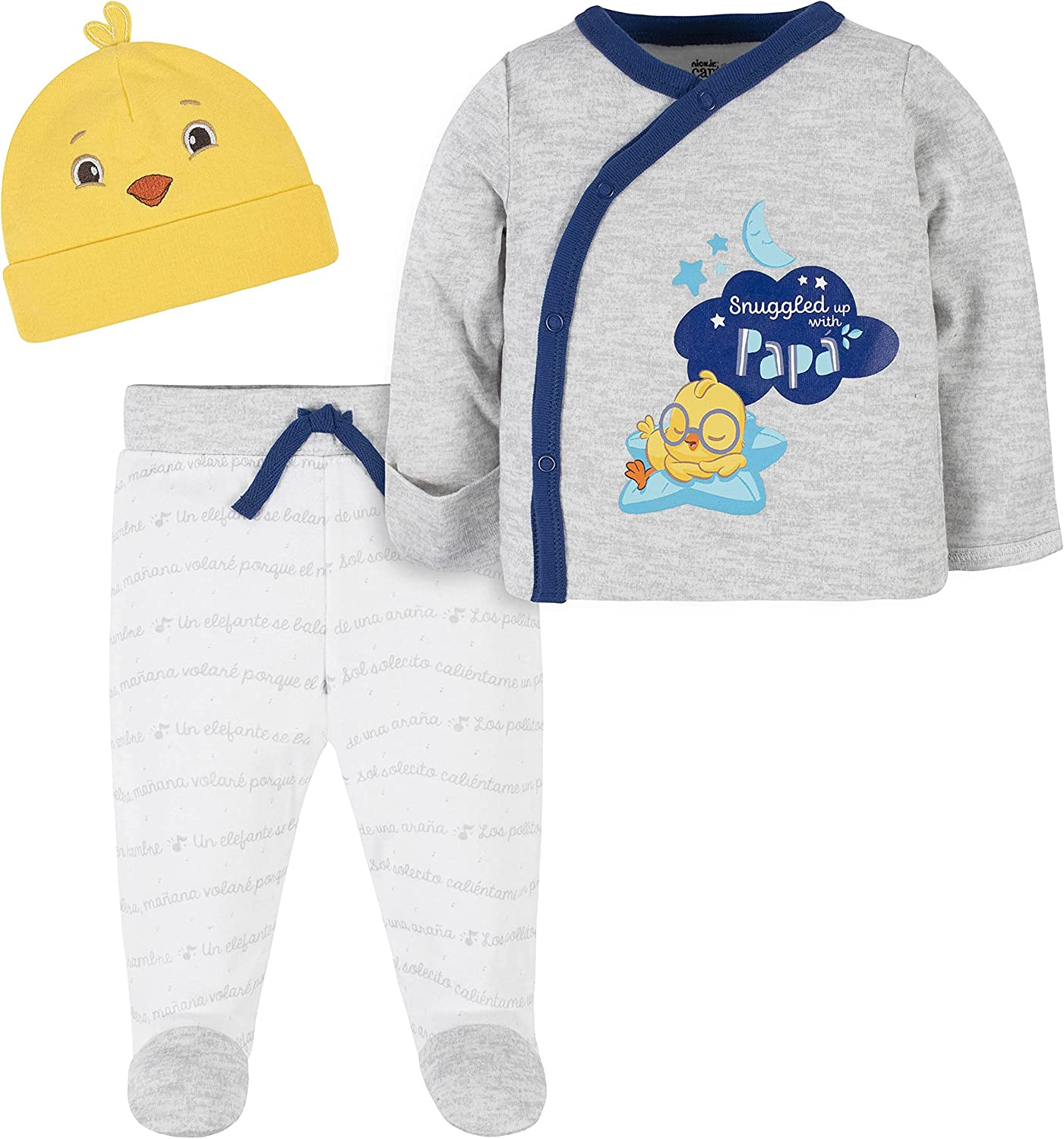 Canticos baby-boys 3-piece Take-me-home Shirt, Footed Pant, and Cap Set