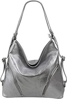 SH Leder 2in1 Handtasche Rucksack Damen Schultertasche Daypack CityRucksack aus Echt genarbt Leder (B 35cm x H 34cm xT 12c...
