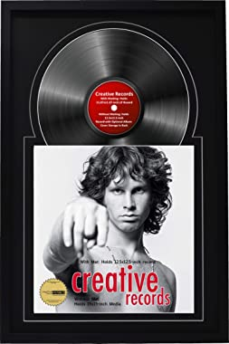 """Creative Picture Frames 16"""" x 24"""" Jukebox Record Frame and Double Black-Black Matting Displays Album Cover with 33 Vinyl LP"""