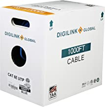 Cat6e Plenum (CMP), 1000ft, UTP 23AWG Solid, Bare Copper, 600MHz, ETL Verified, Bulk Ethernet Cable in Blue by Digilink Global