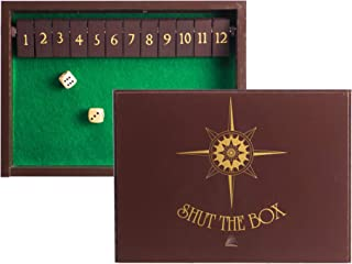 STERLING Games Wooden Shut The Box Game 12 Numbers with Home Decor Design Lid Cover and Felted Rolling Surface