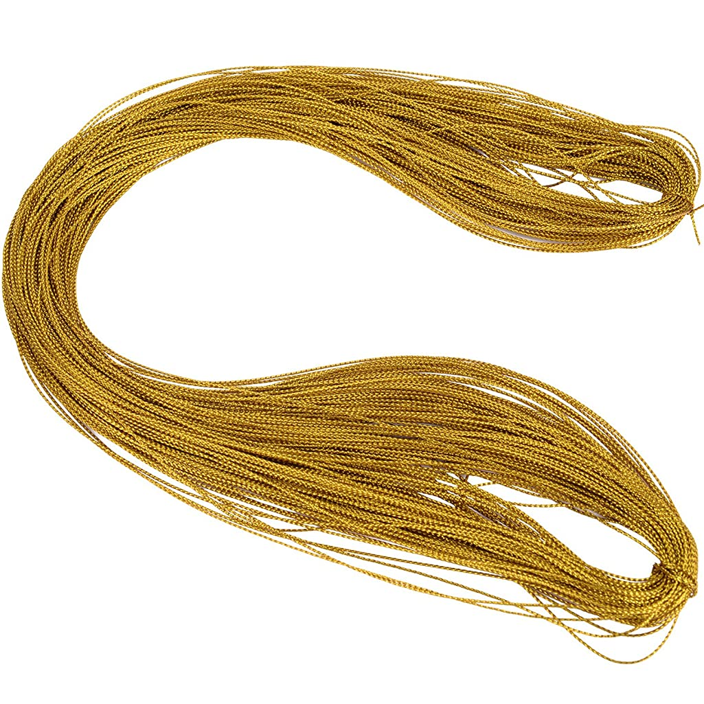 Shappy Metallic Cord Jewelry Thread Craft String Lift Cord for Jewelry and Craft Making, Gold, 100 Meters/ 109 Yards