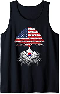 Korean Roots American Grown Korea USA Flag Shirt Gift Tank Top