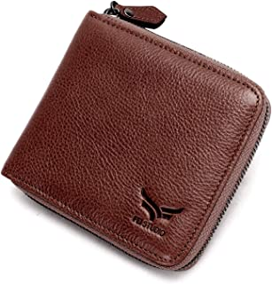 Fei Studio Men's Vintage Handmade Leather Zipper Wallet RFID Blocking Zip Around Wallet Bifold Multi Card Holder Purse (Coffee)